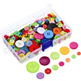 Outus 300 Pieces Assorted Colors Resin Buttons 2 and 4 Holes Round Craft Buttons with Plastic Storage Box for Sewing DIY Crafts