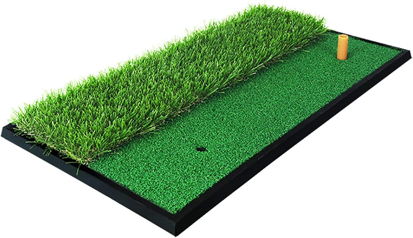 PGM Golf Turf Practice Mat for Driving Hitting Chipping Artificial Grass Turf Golf Hitting Mat for Backyard Home Use Indoor Outdoor Rubber Tee Holder Included
