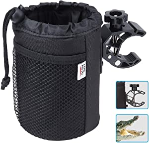 Techjayse Large Cup Holder, Oxford Fabric Drink Cup Can Holder with Drain and Alligator Clip for Motorcycle, ATV, Bike, Scooter, Wheelchair, Walker, Golf Cart, Upgrade Size