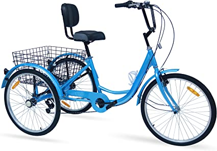 Adult Tricycles 20//24//26 inch 7Speed Three-Wheel Bike /& Basket Great for Seniors