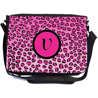 """Rikki Knight Letter """"V"""" Hot Pink Leopard Print Monogrammed Design Multifunctional Messenger Bag - School Bag - Laptop Bag - with padded insert for School or Work - Includes UKBK Premium coin Purse"""