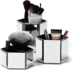 Beautify Hexagon Storage Pots for Makeup/ Cosmetics, Brushes, Jewelry & Accessories - Set of 3 with Glass Cleaning Cloth