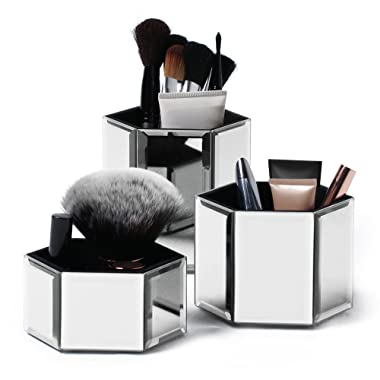 Beautify Mirrored Glass Hexagon Storage Pots for Makeup Cosmetics, Brushes, Jewelry and Accessories Set of 3 with Glass Cleaning Cloth