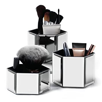 Beautify Hexagon Storage Pots For Makeup Cosmetics, Brushes, Jewelry U0026  Accessories   Set Of