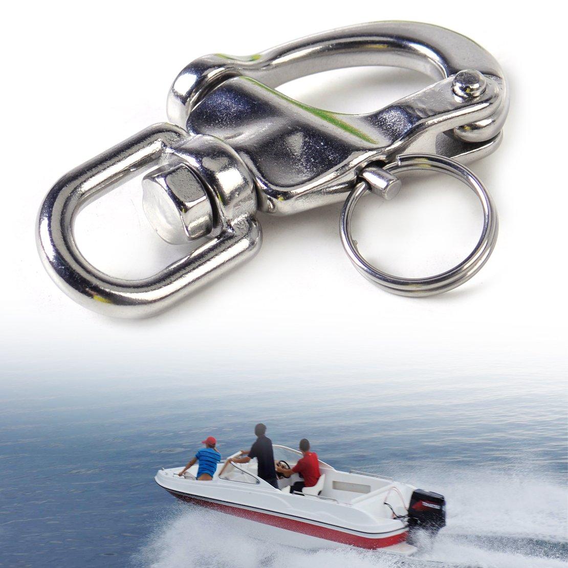 beler 2-3/4' Stainless Steel Swivel Snap Shackles for Sailboat hermeshine
