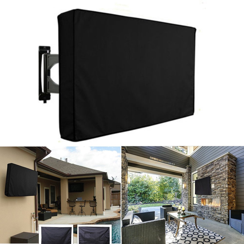 Outdoor TV Cover,Weatherproof and Dust-proof TV Screen Protector for LCD, LED, Television Sets with R/C Pocket Fits Wall & Standard Mounts