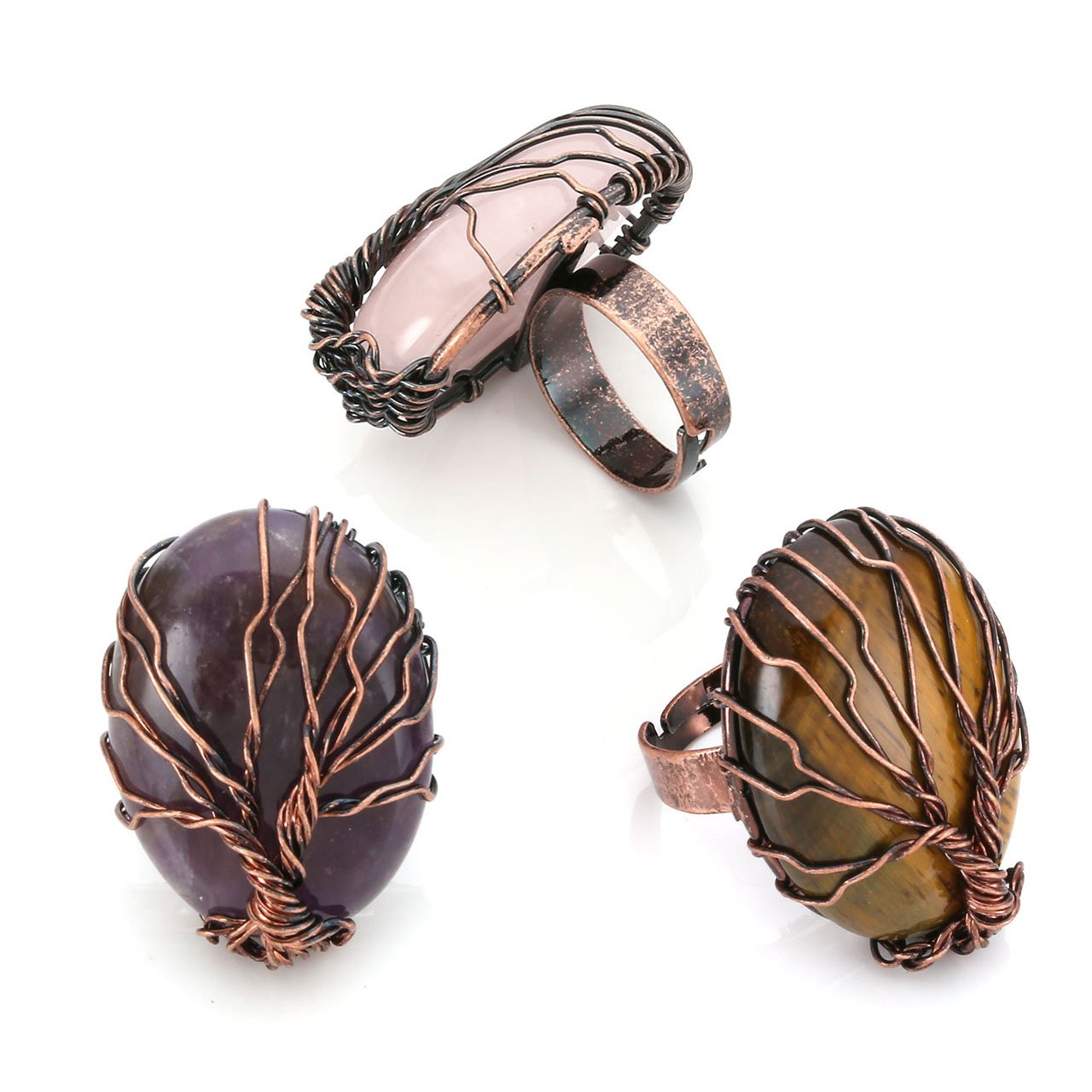 Top Plaza Handmade Retro Vintage Copper Wire Wrapped Tree of Life Oval Gemstone Healing Crystal Adjustable Ring Bronze Band Size 6 7 8(Amethyst+Rose Quartz+Tiger Eye)