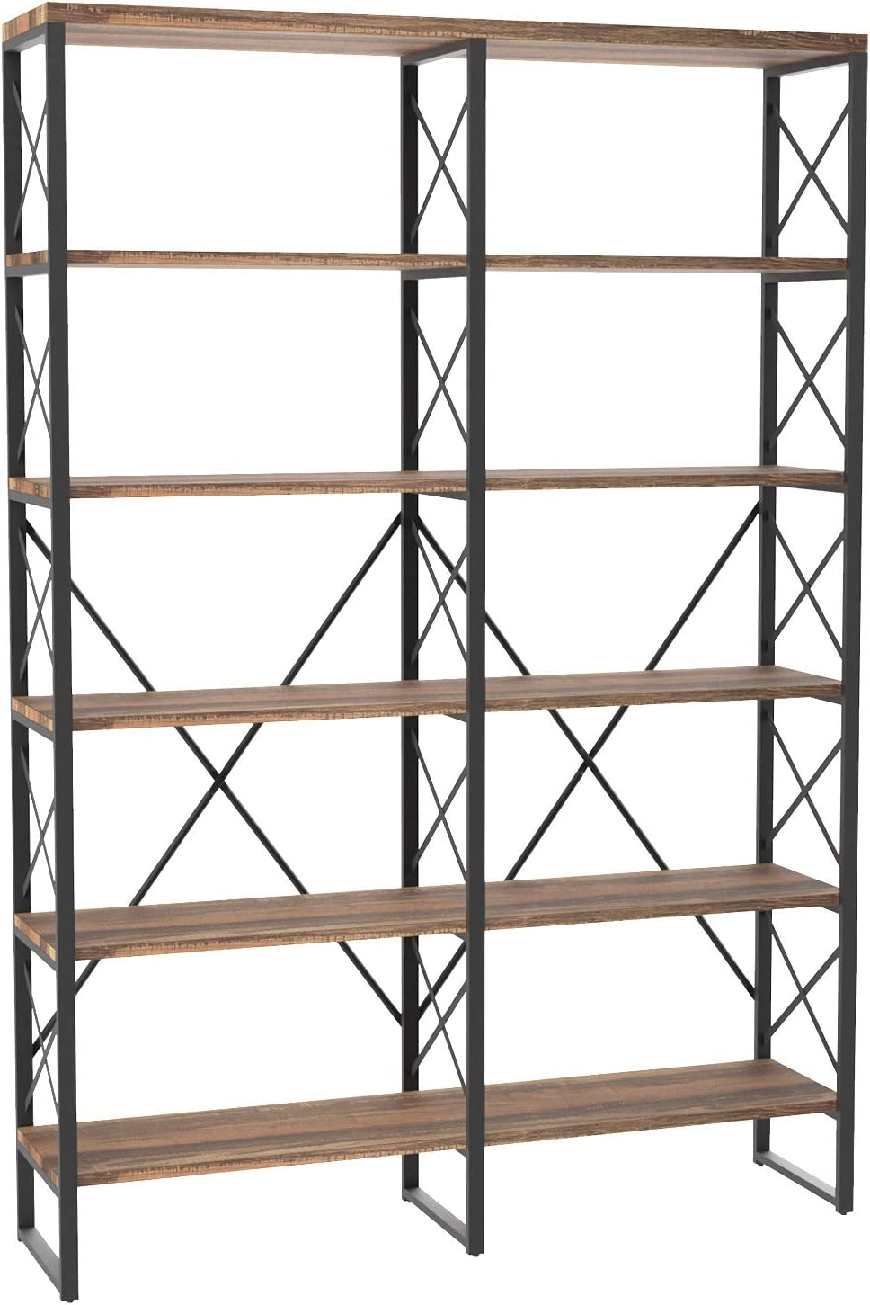 "IRONCK Bookshelf Double Wide 6-Tier 76"" H, Open Large Bookcase, Industrial Style Shelves, Wood and Metal Bookshelves for Home Office, Easy Assembly, Vintage Brown"