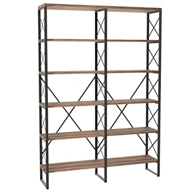 IRONCK Bookshelf, Double Wide 6-Tier 76  H Open Bookcase Vintage Industrial Style Shelves Wood and Metal Bookshelves, Home, Office Furniture
