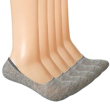 Yolev Mocasines corte bajo calcetines de algodón no show - Calcetines para hombre calcetines con Pad 5 pares: Amazon.es: Ropa y accesorios