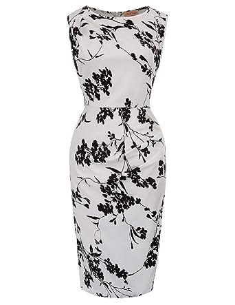 Belle Poque Women s Summer Sleeveless Vintage Floral Bodycon Pencil Dress  Color 1 Size S BP616- 245a7b0e8d22