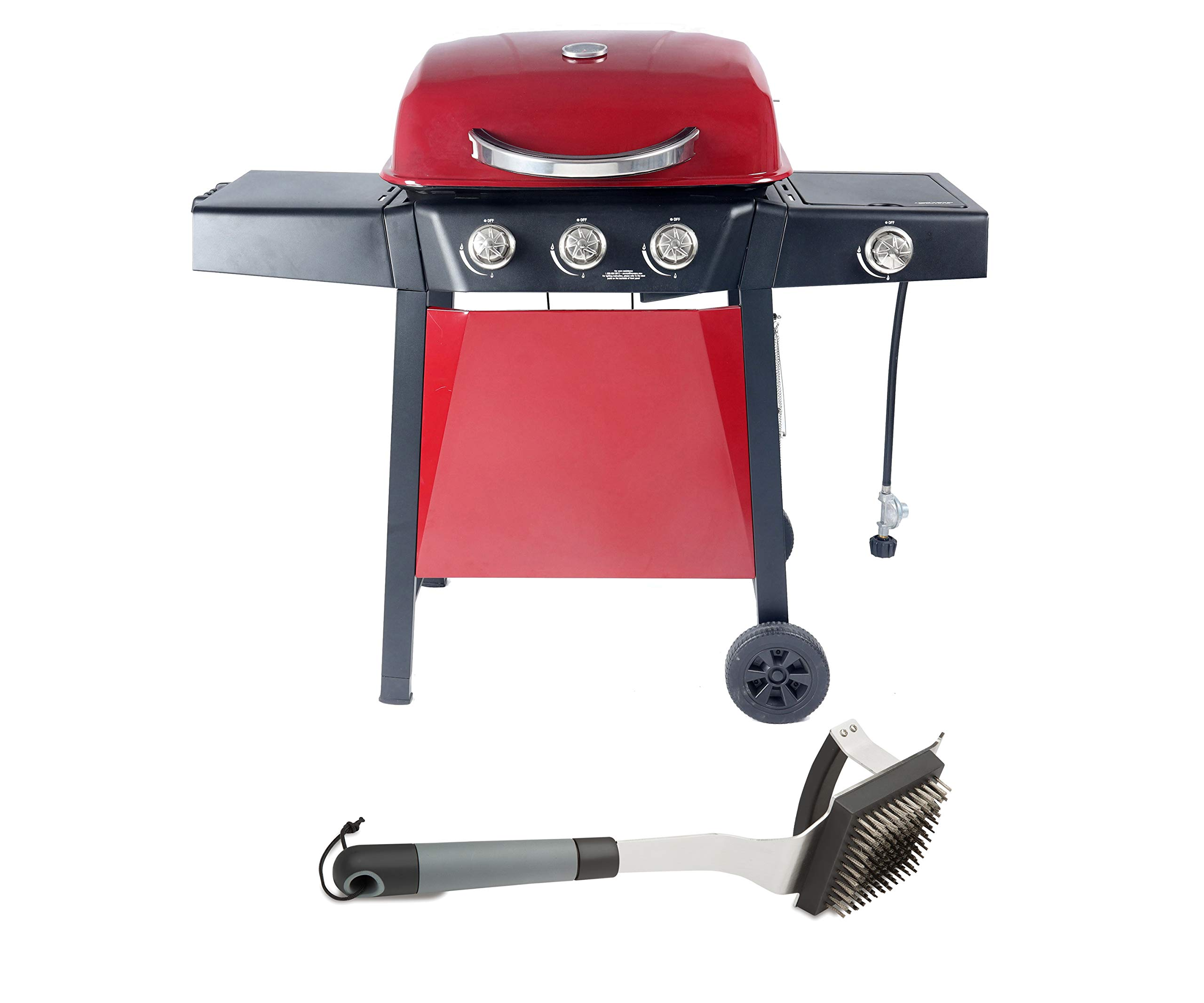 RevoAce 3-Burner Gas Grill with Side Burner, Red Bundle with Cuisinart Dual Grip Barbecue Grill Brush and Scraper by RevoAce + Cuisinart