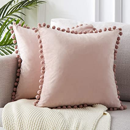 Top Finel Decorative Throw Pillow Covers for Couch Bed Soft Particles Velvet Solid Cushion Covers with Pom-poms 24 x 24 Inch 60 x 60 cm, Pack of 2, ...