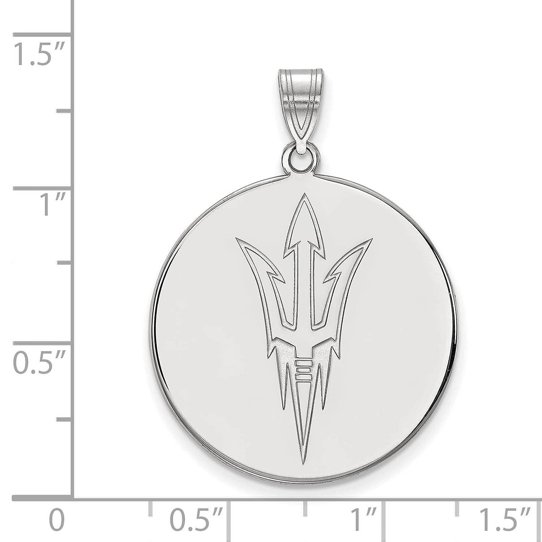 925 Sterling Silver Rhodium-plated Laser-cut Arizona State University XL Disc Pendant