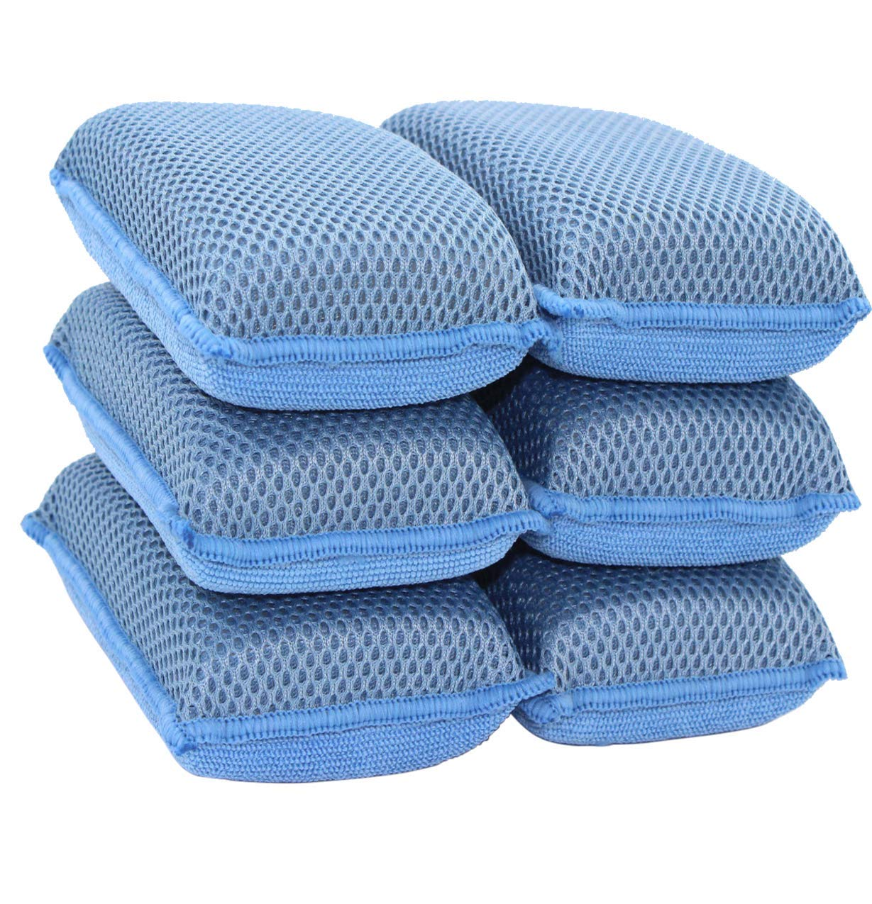 Miracle Microfiber Kitchen Sponge by Scrub-It (6 Pack) - Non-Scratch Heavy Duty Dishwashing Cleaning sponges- Machine Washable- (Blue)