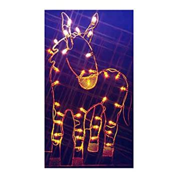 47 donkey nativity silhouette lighted wire frame christmas yard art decoration - Wire Lighted Outdoor Christmas Decorations