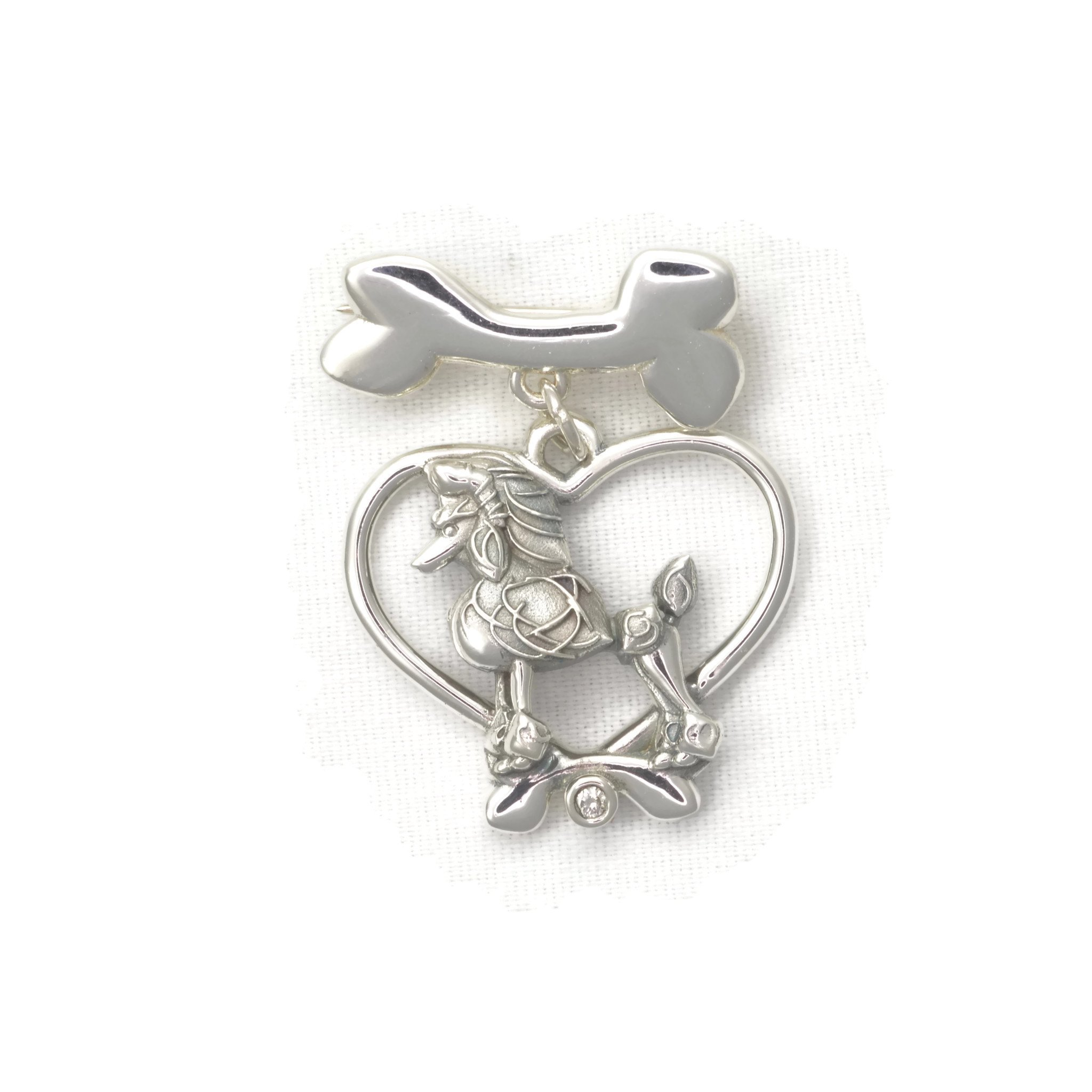 Sterling Silver Poodle Pin - Diamond Brooch - Dog Bone Pin by Donna Pizarro fr her Animal Whimsey Collection of Fine Poodle Jewelry
