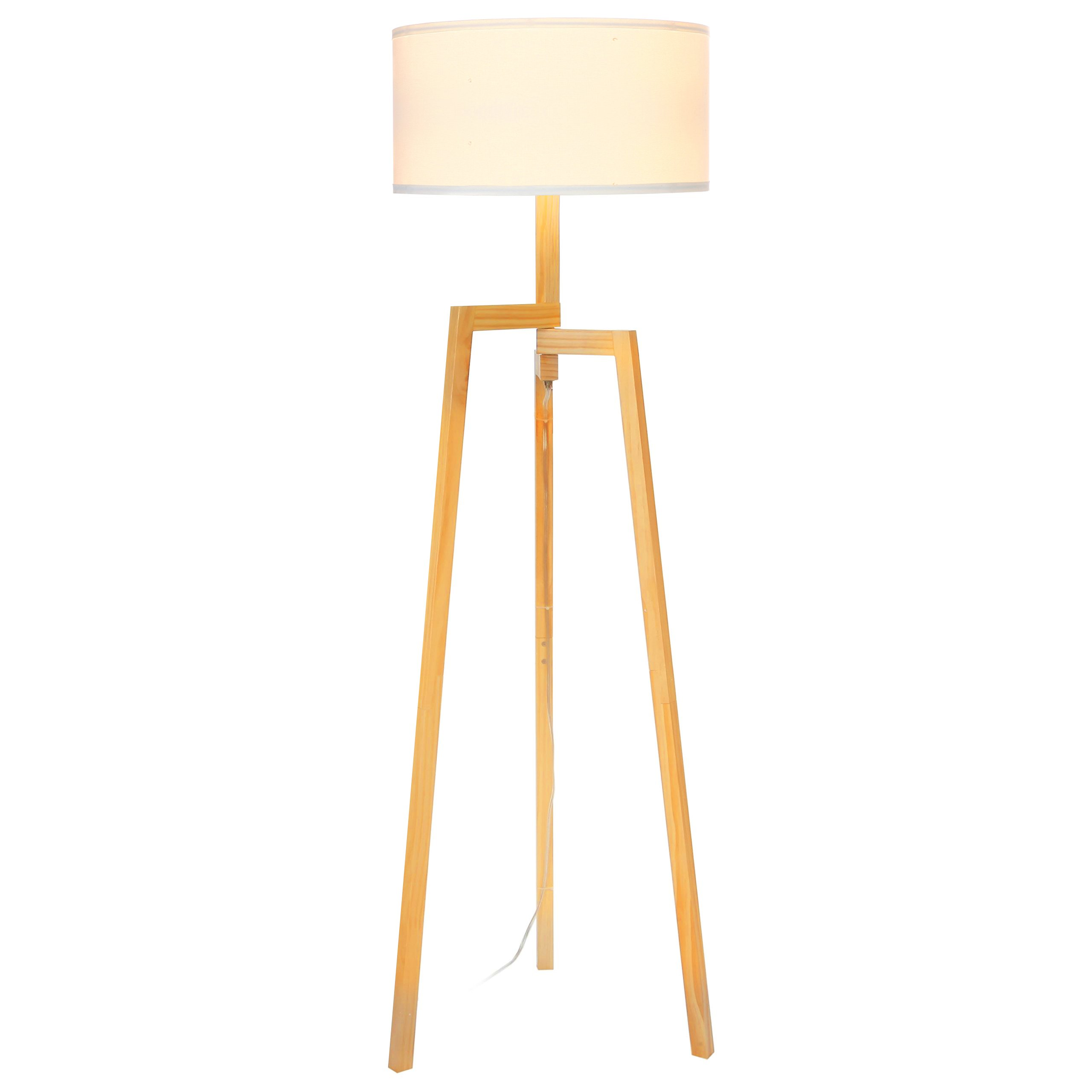 Brightech New Mia LED Tripod Floor Lamp– Modern Design Wood Mid Century Style Lighting for Contemporary Living or Family Rooms- Ambient Light Tall Standing Survey Lamp for Bedroom, Office- White Shade by Brightech (Image #3)