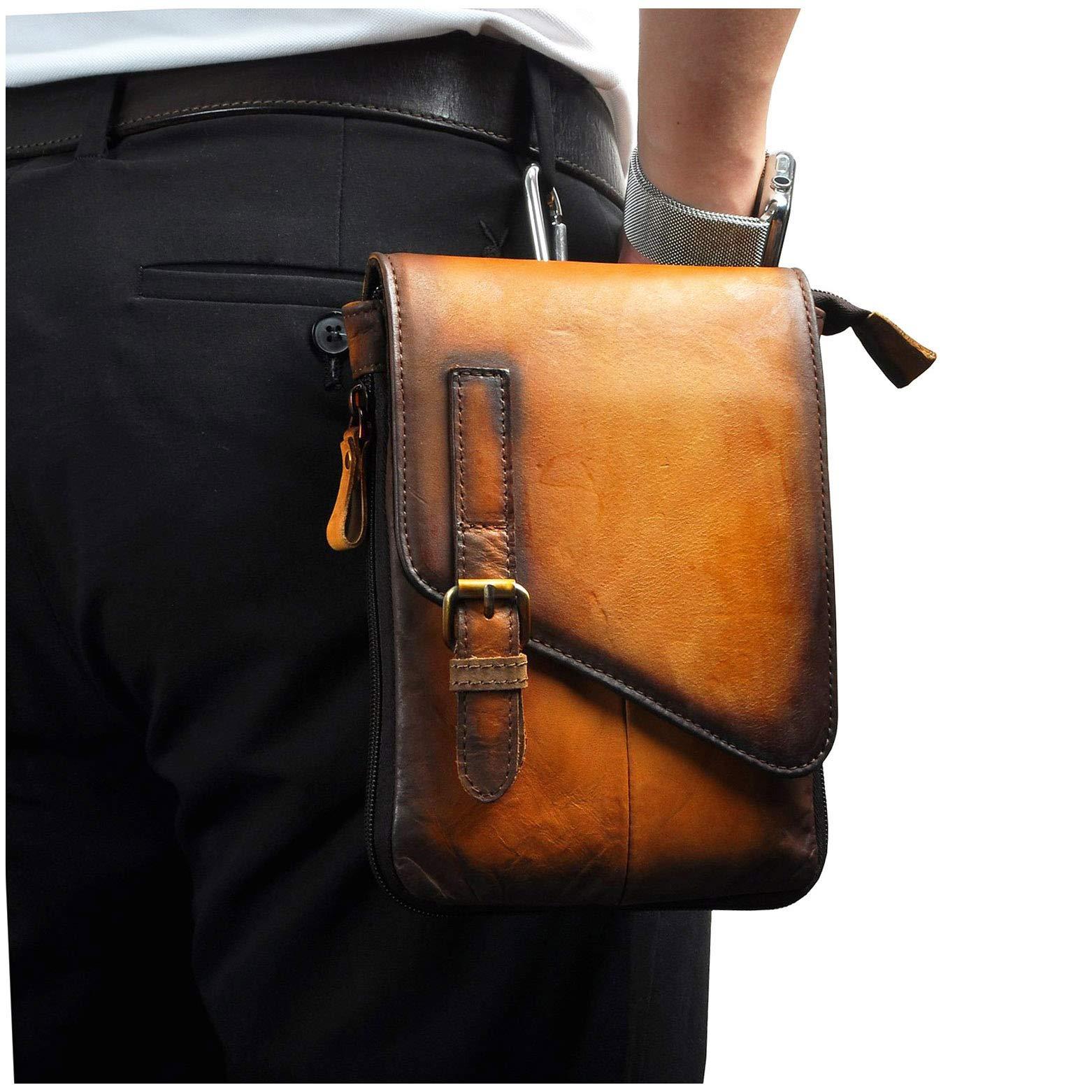 Le'aokuu Mens Genuine Leather Coffee Fanny Small Messenger Shoulder Satchel Waist Bag Pack (Large Size-light brown)