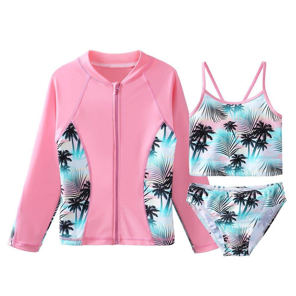 TFJH E Girls Swimsuit SPF UPF 50+ UV 3PCS Rash Guard Sunsuits Green Pink 8A by TFJH E