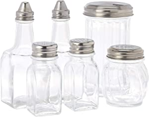 Home Basics Glass 6 PC Condiment Set, Salt and Pepper, Oil and Vinegar, Sugar and Cheese, Silver Metal Airtight Lids, Clear
