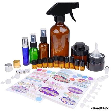 Kit de Botellas de Aceite Esencial Recargables - 16 Botellas/Tarros de aceite esencial de