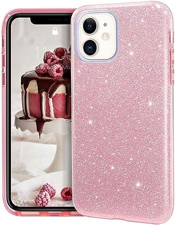 """Image ofCoovertify Funda Purpurina Brillante Rosa iPhone 11, Carcasa Resistente de Gel Silicona con Brillo Rosa para Apple iPhone 11 (6,1"""")"""