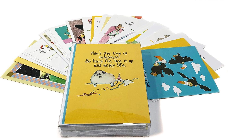24 Bulk Funny Birthday Card Assortment - Birthday Card Assorted Boxed Set - Boxed Set of 24 Cards & Envelopes (Assortment #1)