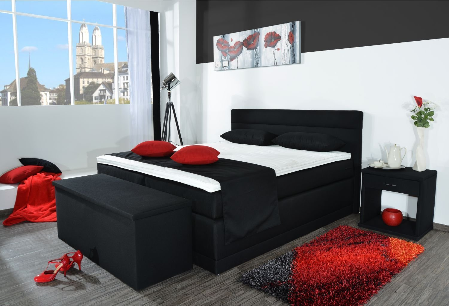 boxspringbett bali bt auch mit bettkasten oder elektrisch erh ltlich 80x200cm 90x200cm. Black Bedroom Furniture Sets. Home Design Ideas