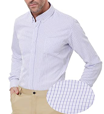 2a8daf99 PAUL JONES Mens Casual Check Pattern Long Sleeve Button-Down Collar Dress  Shirts at Amazon Men's Clothing store: