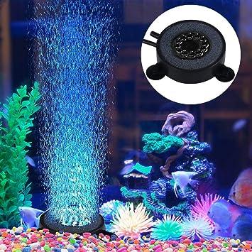 1 Unid Nuevo Colorido Submarino Redondo Lámpara de Tanque de Peces 12 Leds Burbujas de Aire Acuario Luz Sumergible: Amazon.es: Hogar