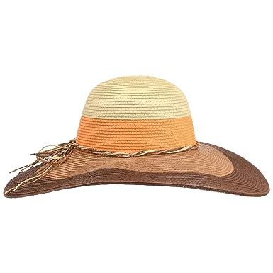Lipodo Colour Stripes Floppy Hat Summer Sun (One Size - Brown ... f467e481e309