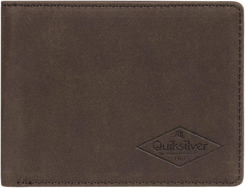 Quiksilver - Cartera de Cuero de Doble Hoja - Hombre - L - Marrón