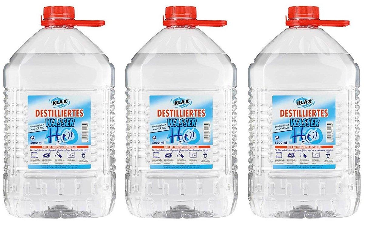 VECARO Destilliertes Wasser 15 Liter 3 Kanister zu je 5 Liter Chemica