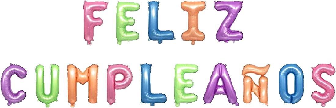 Feliz Cumpleaños 16 Inch Letter Foil Mylar Balloon Banner Kit by Zeylo Party Supply, Pastel Colors