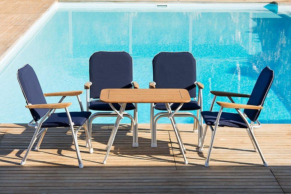 FORMA Marine Set of 2 Black Deck Chairs Model Venus V100BL Folding Boat Chairs Anodized Padded Aluminium
