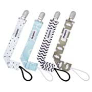 Pacifier Clip by CAMIRUS - 4 Pack - Premium Quality Soothie Pacifier Holder - Great Unisex Modern Design Teething Holder for Boys and Girls