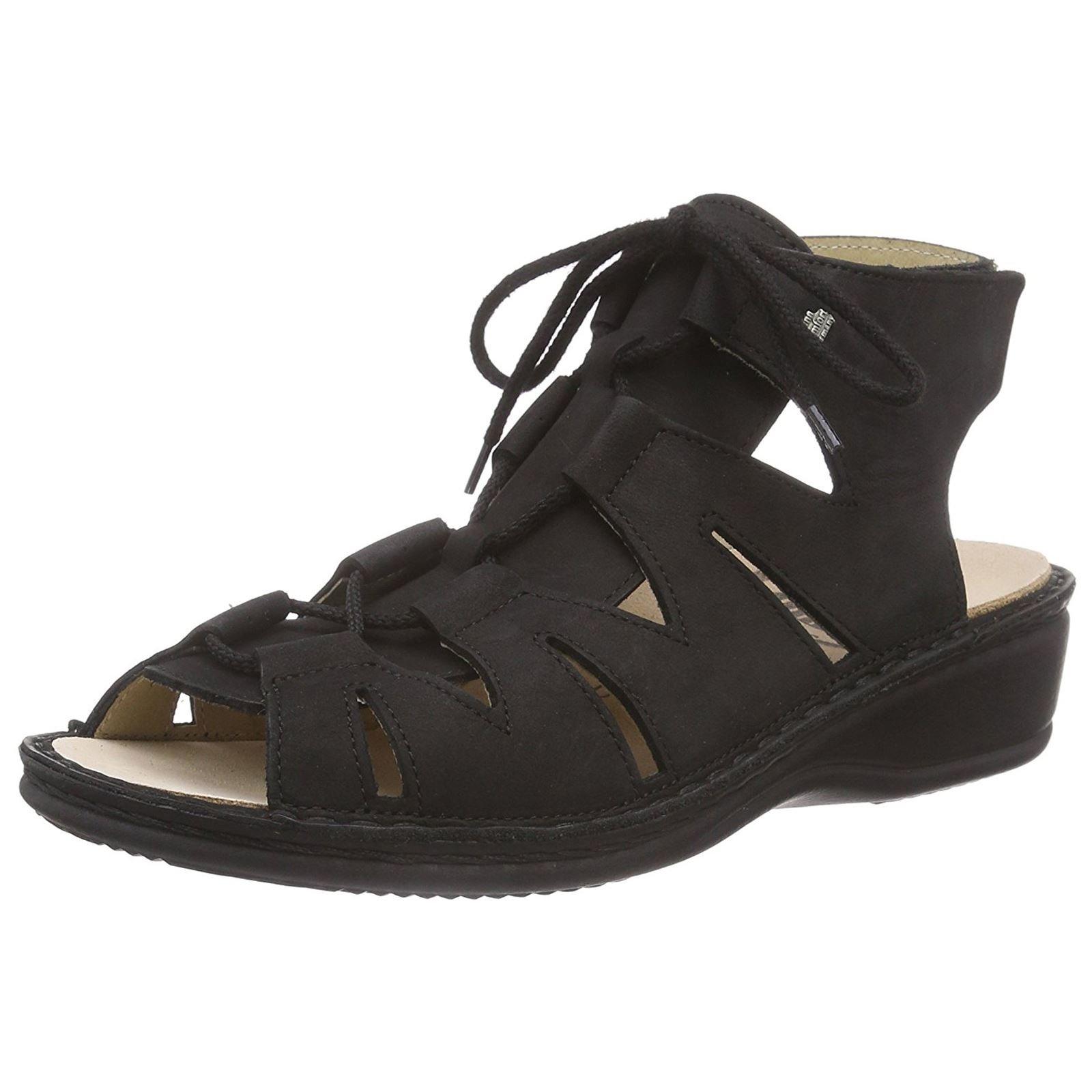 Finn Comfort Womens Malaga Black Leather Sandals 40 EU