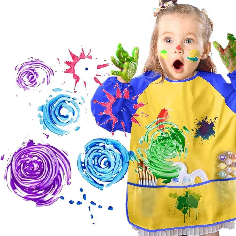 /Éponge Brosses de Peinture Enfant Ensemble Pinceaux de Peinture et Tablier Art DIY Outils de Peinture dapprentissage Pr/écoce d/'Enfan 35 Pi/èces Nifogo Pinceau /à Dessin pour Enfants