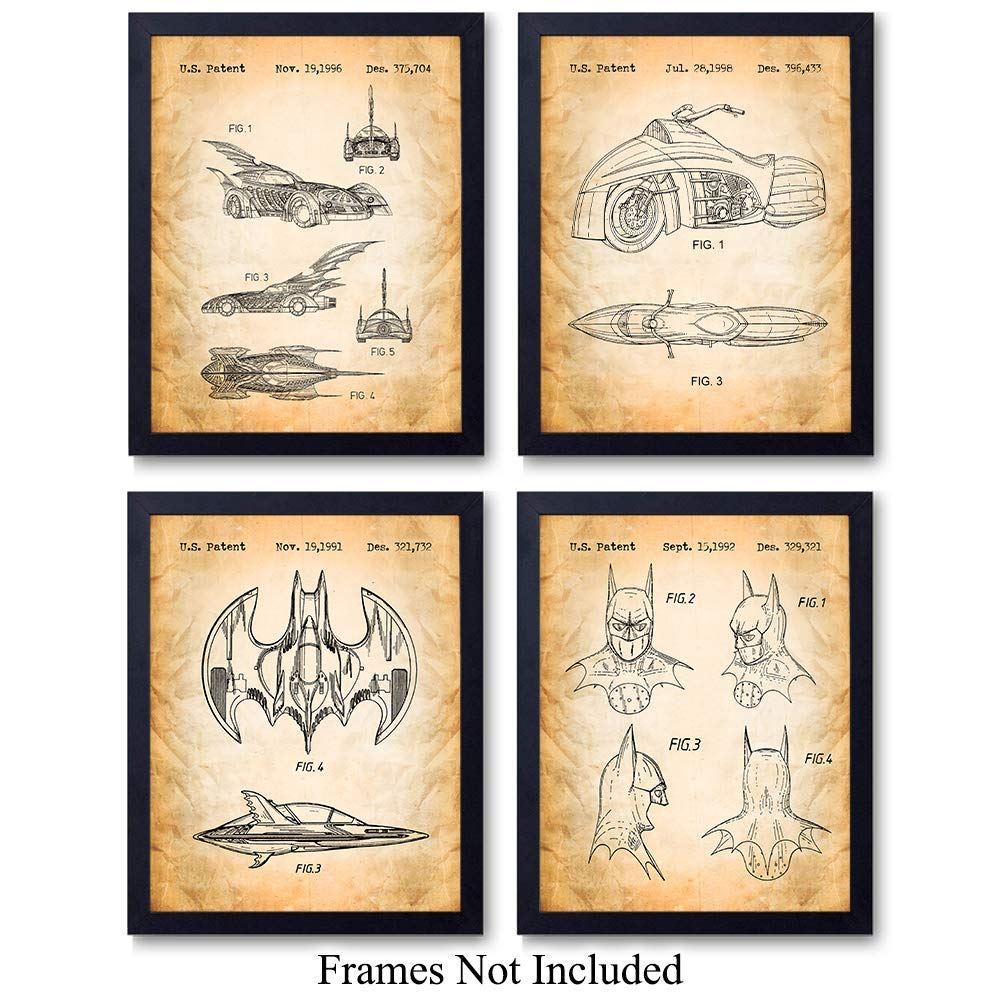 Batman Patent Wall Art Prints - Unframed - Set of 4 - Great Gift For Children's Rooms and Home Decor - Ready to Frame Photos (8x10)
