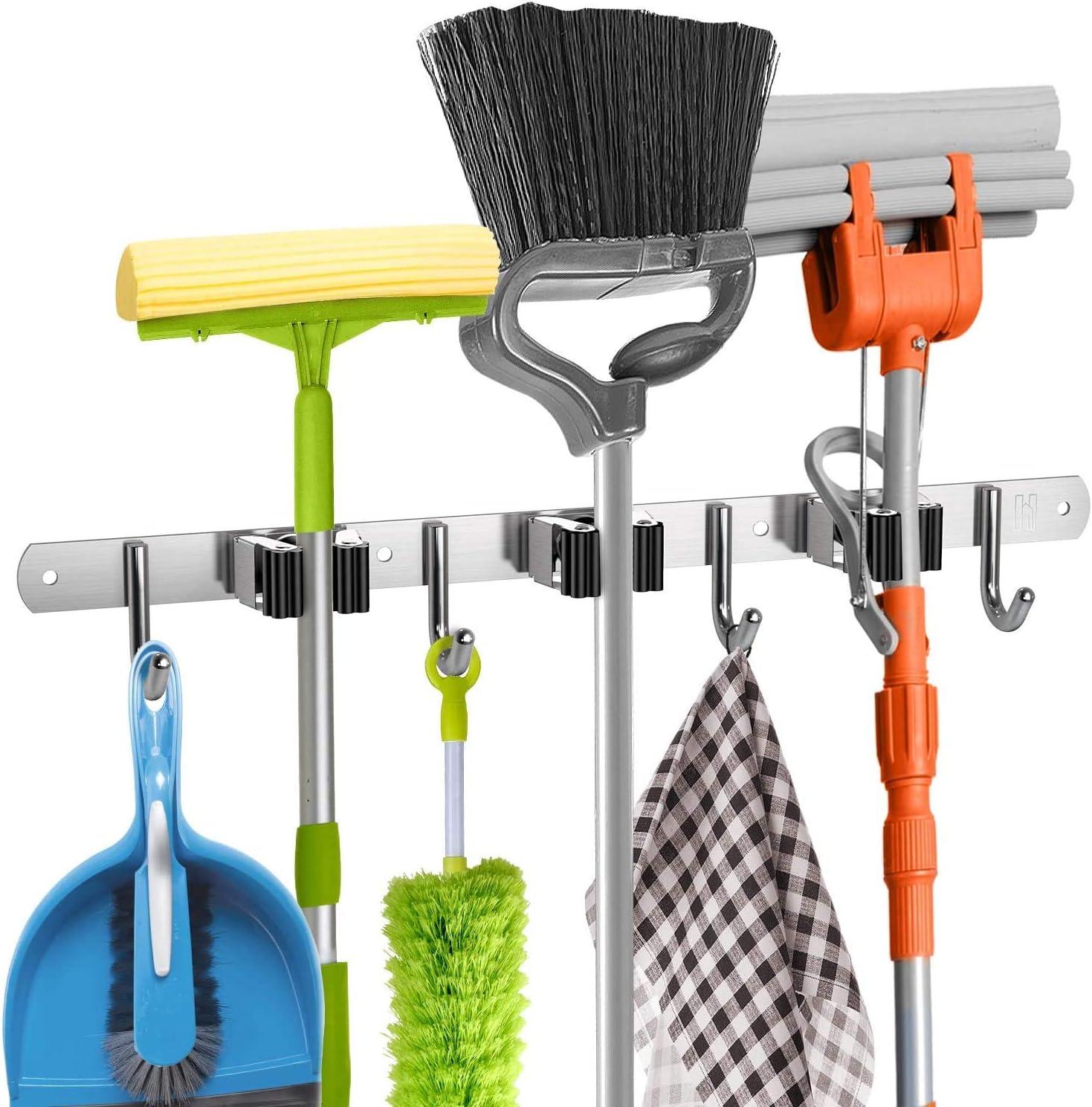 Garage Storage Utility Hooks,Wall Mount Tool Holder Mop broom Organizers