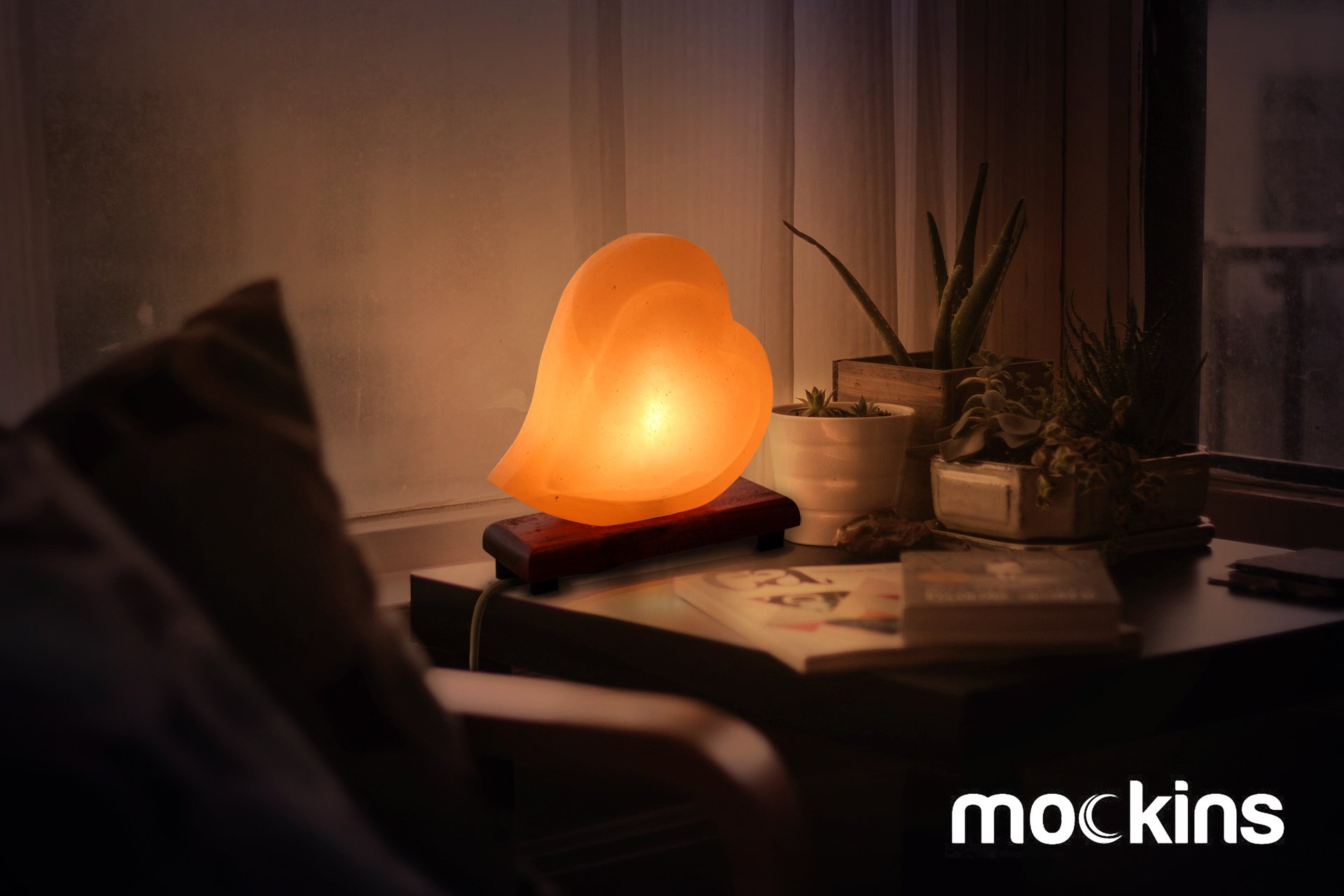 hand lighting. Mockins Natural Himalayan Salt Double Heart Shaped Lamp The Is Hand Carved With A Wooden Base And Dimmer - Best Holiday Gift Lighting O