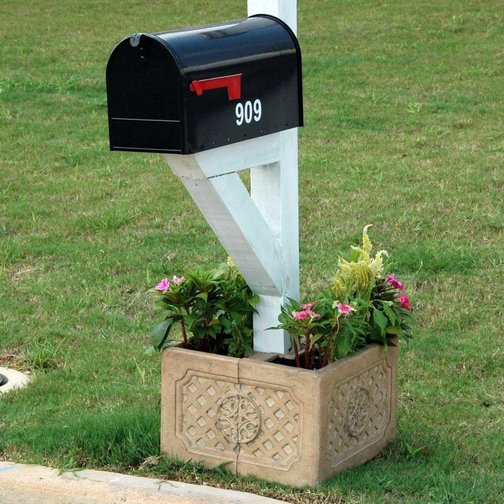 18 in. Square Aged Ivory Cast Stone Mailbox Planter by MPG Sport