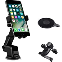 TERSELY Universal Mobile Phone Car Holder Mount, 360°Rotating Car Phone Cradle Holder Suction Windshield for Apple…