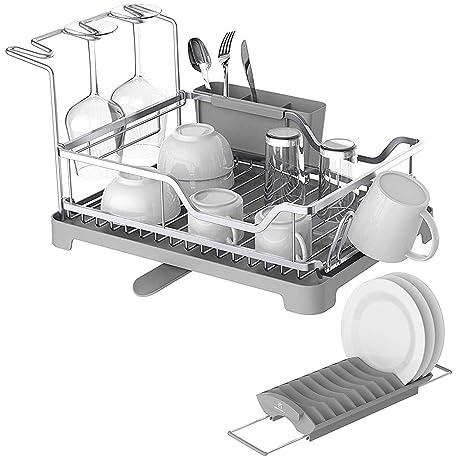 Amazon.com: Escurreplatos de aluminio con estante expandible ...