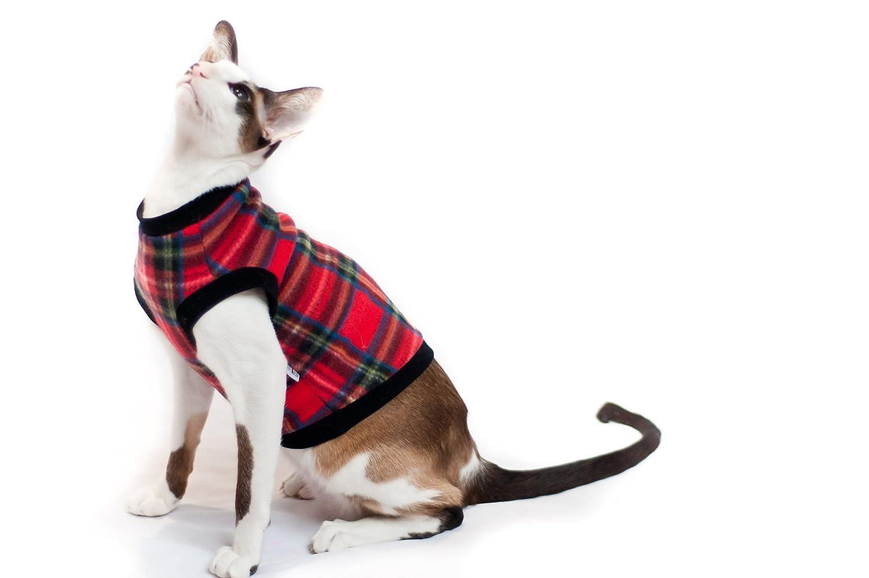 Kotomoda biancheria per gatti Felpa Tartan rosso