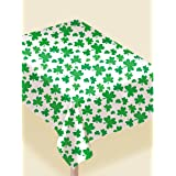 "Lucky Irish Green Saint Patrick's Day Shamrocks Flannel-Backed Vinyl Table Cover Party Supply, Vinyl, 52"" x 90"""