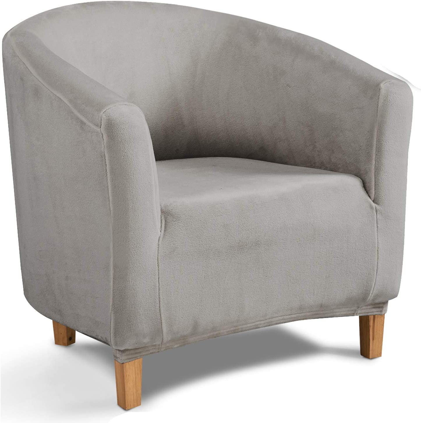 TIANSHU Velvet Tub Chair Cover, Stretch Armchair Slipcovers, Club Chair Covers, Non-Slip Couch Cover Furniture Protector for Dining Living Room Office Reception Chair(Tub Chair, Velvet Light Gray)