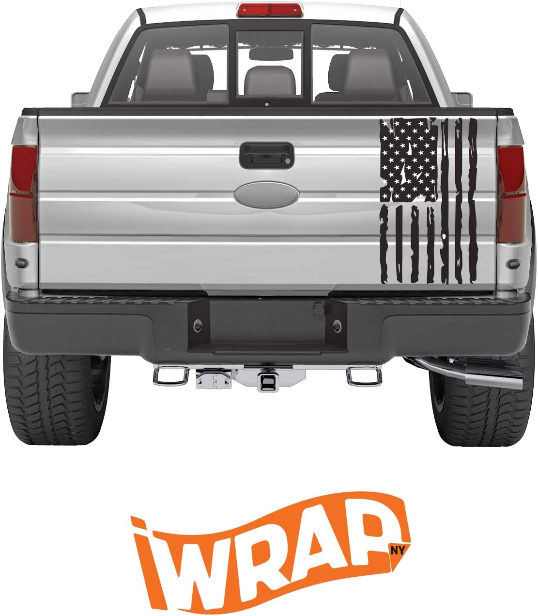 Vertical Distressed American Flag Tailgate Decal-one Size fits Most Satin Black