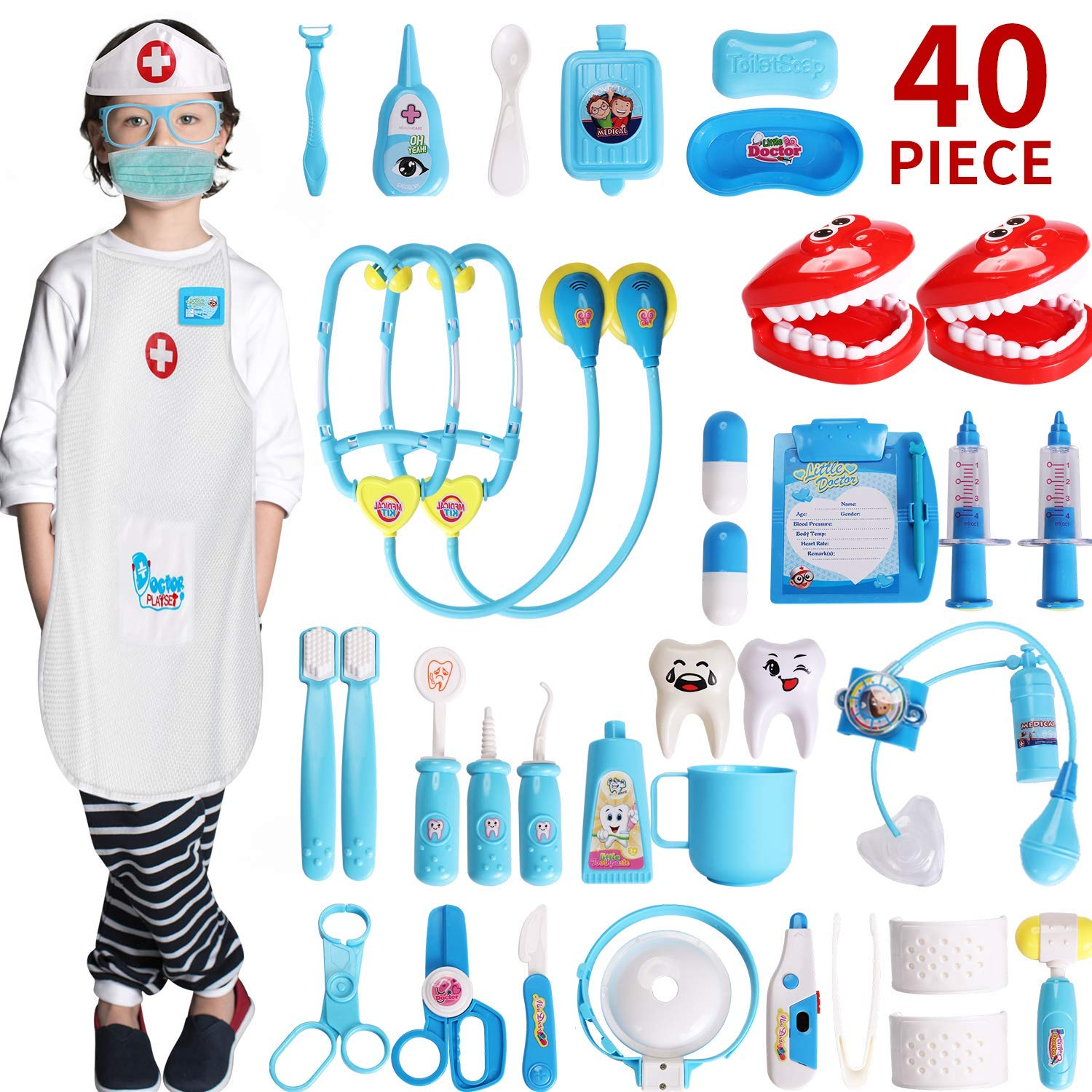 XINSHI 40 PCS Durable Dole Play Toys Kids Doctor Kits Containing Thermometers / Blood Pressure Monitors / Dental Equipment in Drawstring Bag